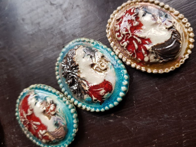 jewellery components ring cameo Lady Ready to ship clay  cameo pottery brooch
