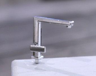 1//12 Dollhouse miniature accessories mini alloy double faucet for decoration HY