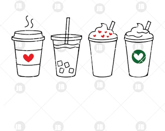 23859fe89 Coffee SVG Cute Iced Coffee To Go Line Art SVG DXF Cut Files for Cricut or  Silhouette Clipart Clip Art