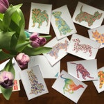 Paisley Pets ~ Patterned Dogs ~ Postcard Pack of 10 ~ for dog lovers