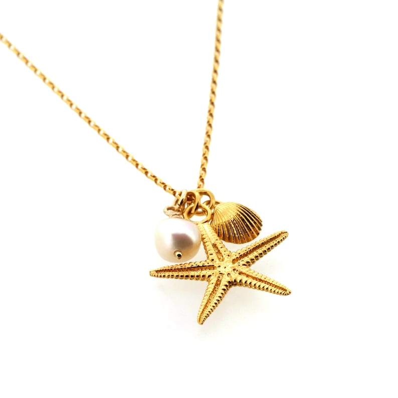 9ct Gold Starfish Solid Gold Beach Cluster Necklace Cockle Shell and Freshwater Pearl