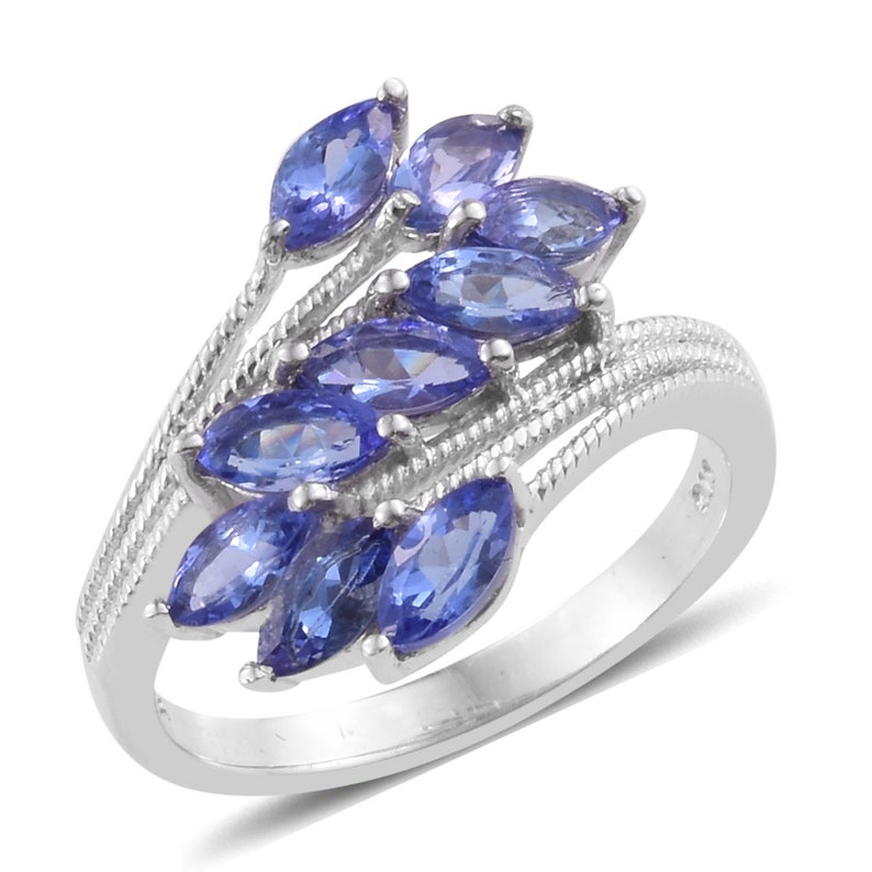 Tanzanite Gemstone Tanzanite Jewellery Silver Ring TGW 2.30 cts Silver Jewellery Rings AAA Tanzanite Sterling Silver Bypass Ring