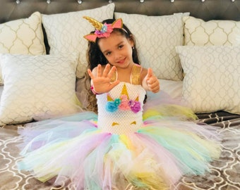 97ab7932a983 Unicorn Party Dress girls party Birthday cosplay halloween dress up pink  purple size 2T- 10
