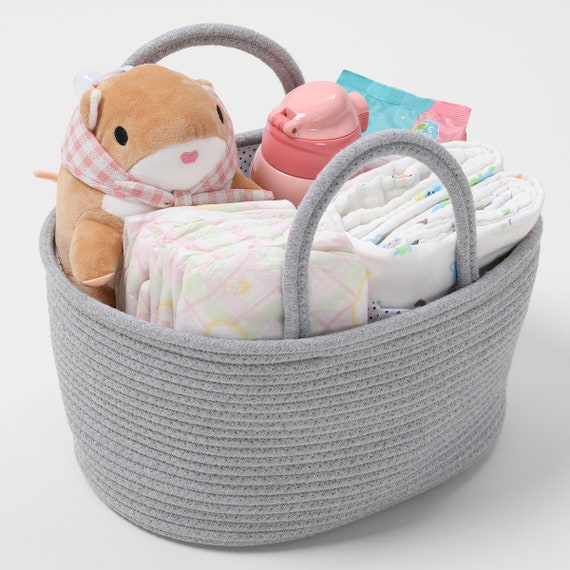Nursery Storage Organizer Cotton Rope Caddy with Removable Divider