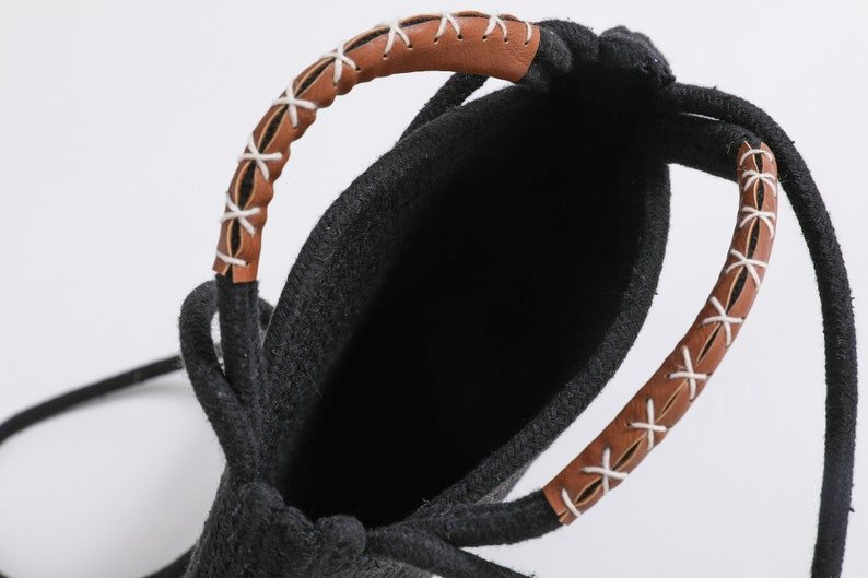 5bc53a5c966f Round Cotton Rope Shoulder Bag with Leather Handles and Shoulder Strap,  Black