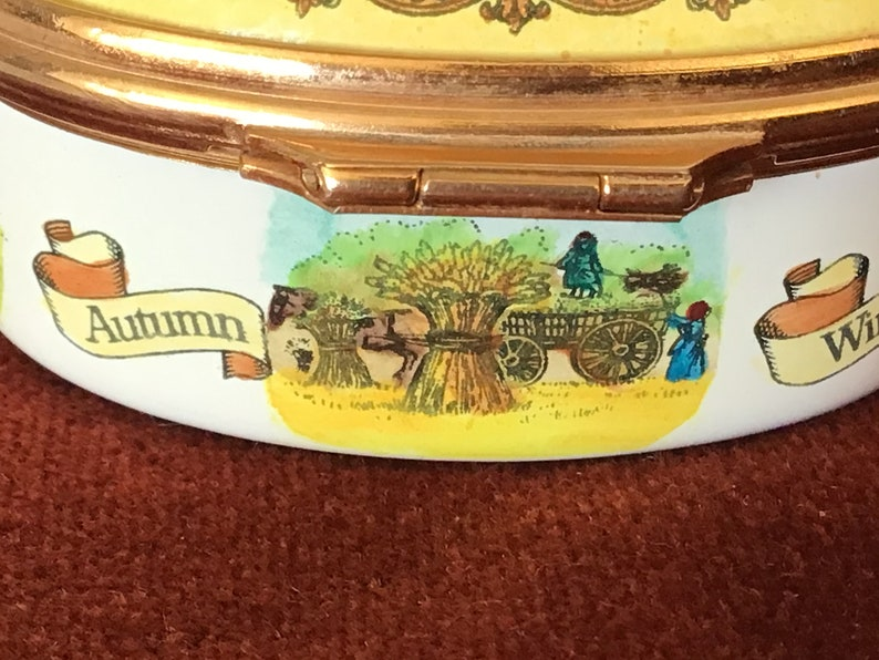 Halcyon Days Vintage Enamel Bilston and Battersea Pill Box with Motto