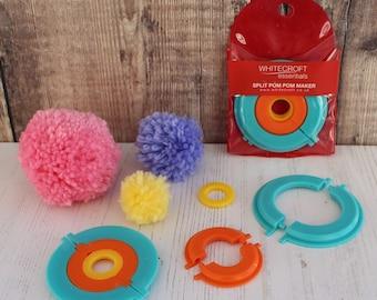 Split Pom Pom Maker in 2 Parts for Easy Making of 3 Different Sizes