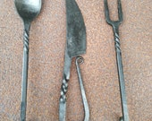 Set of 3 pc Twisted Forged Cutlery Set Viking Cutlery Knife, Spoon Fork