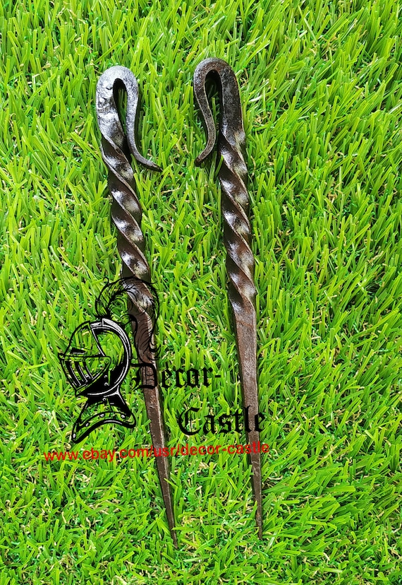 """CARBON STEEL VENT PICK// TENT STAKE HAND FORGED MEDIEVAL 6/"""" ICE PICK"""