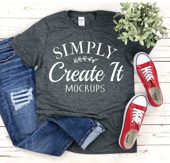 Simple Dark Heather Gildan 64000 Mockup Dark Heather Gildan Mockup T-shirt mockup