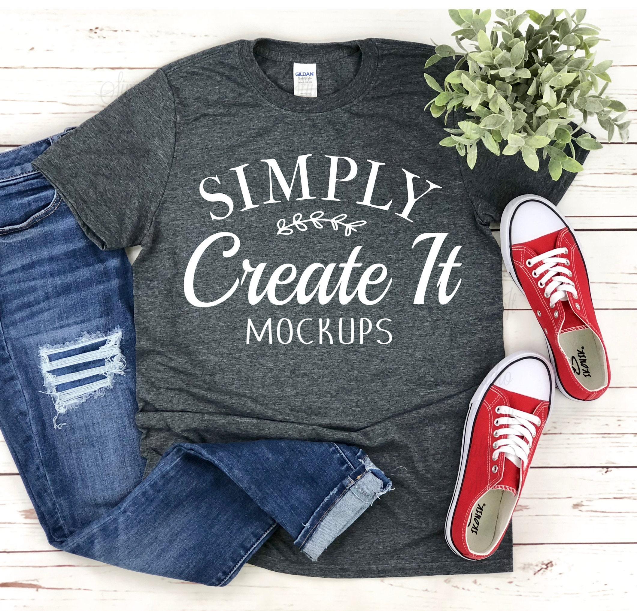 Gildan 64000 Dark Heather T-Shirt Mockup Feminine Flat Lay On Trendy Patterned Abstract Background Shoes /& Purse Fashion Blog Mockup