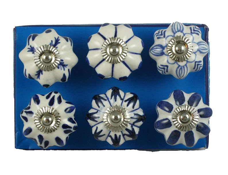 Decorative Ceramic Drawer Pull Knobs Blue and White