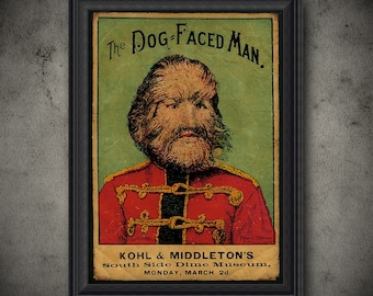 Vintage Reproduction Dog Faced Man Sign 8 X 12 Inches New Aluminum Freak Show
