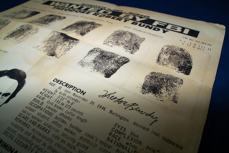 Aged print - Ted Bundy Wanted Poster Fingerprints Signature FBI  Handmade  reproduction on distressed paper  Vintage serial killer wall art