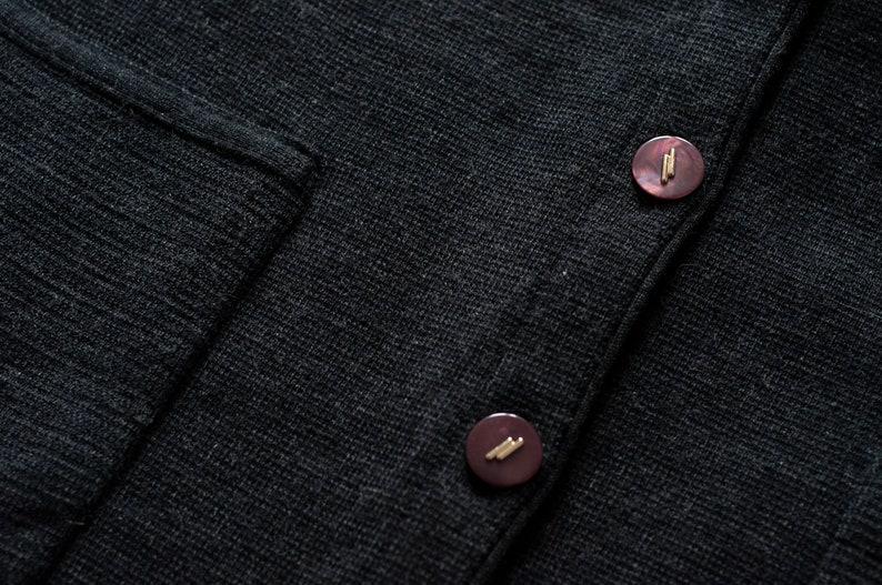 VTG late 80s Wool Blend Grey V Neck Long Cardigan
