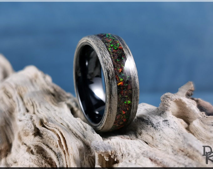 Bentwood Ring - Harborica w/Red Nebula Opal inlay, on polished black ceramic ring core