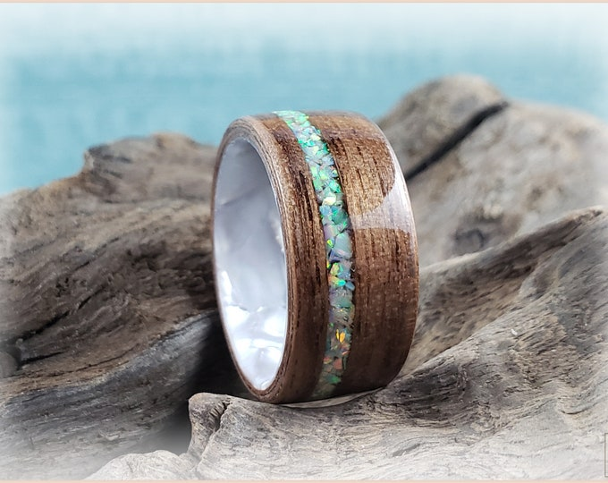 Bentwood Ring - Black Walnut w/offset Fire and Snow Opal inlay, on Pearl Swirl Celluloid core