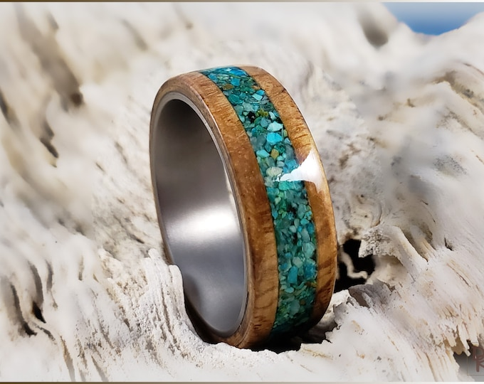 Bentwood Ring - Olive Ash Burl w/Chrysocolla Stone inlay, on titanium ring core