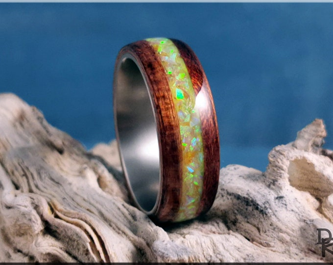 Bentwood Ring - Bubinga w/Lemon Opal Glow inlay, on titanium ring core