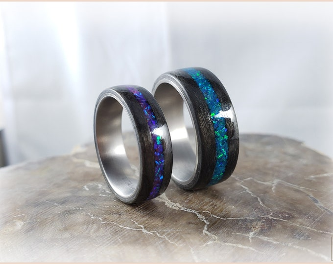 Bentwood Ring Set - 'SYCAMORE SKIES' - Graphite Grey Sycamore w/Opal inlays, on Titanium ring cores