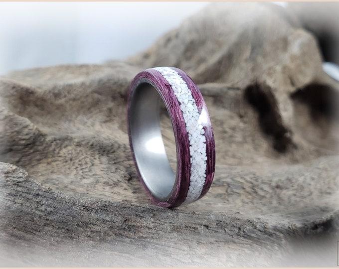 Bentwood Ring - Plum Koto w/Howlite Stone stone inlay, on titanium ring core