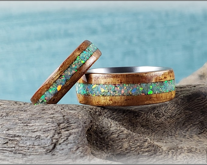 Bentwood Ring Set - 'HAWAIIAN MOON' - Golden Hawaiian Koa w/Opal inlays, on titanium ring cores