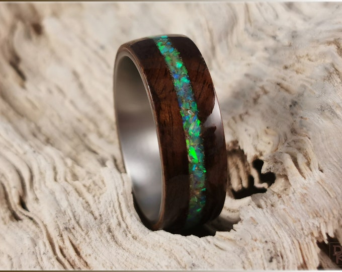 Bentwood Ring - Imbuya Burl w/Citrine Opal inlay, on Titanium ring core