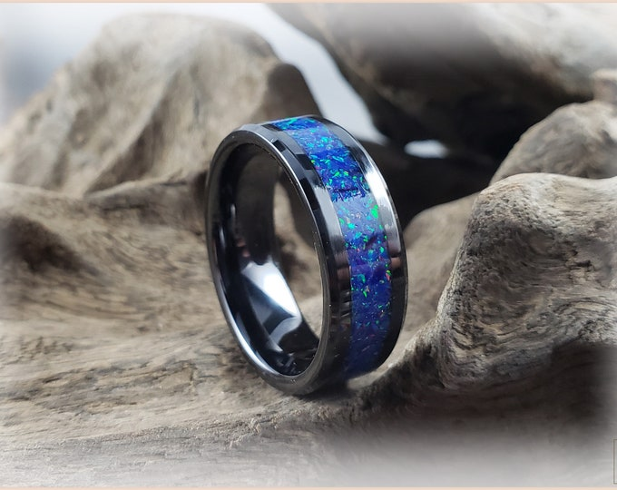 8mm Black Ceramic Channel Ring w/Opal inlay