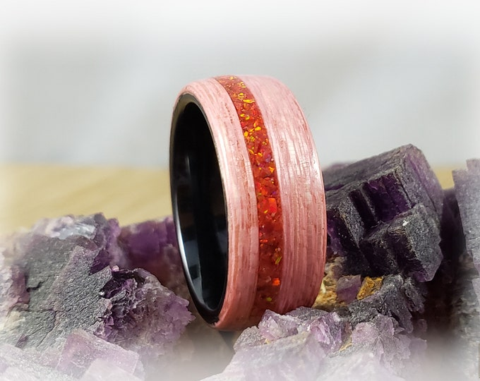 Bentwood Ring - Strawberry Koto w/Ruby Fire opal inlay on polished black ceramic ring core