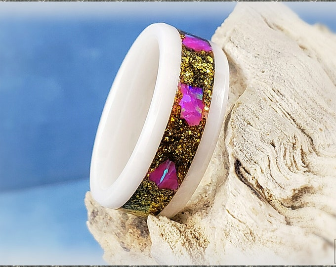 6mm White Ceramic Channel Ring w/Ultra Gold Brass Flake and Orchid Opal chunk inlay
