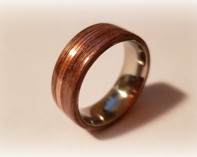 Bentwood Ring - Santos Rosewood w/double copper inlay on titanium core