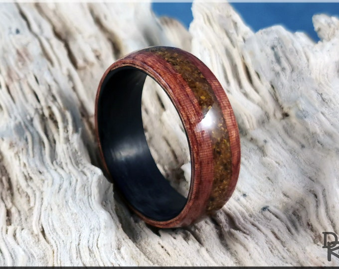 Bentwood Ring - Fiddleback Kotibe w/Tiger Eye stone inlay, on Carbon Fiber ring core - Wood Ring