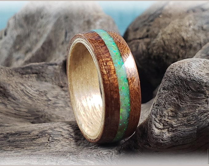 Dual Bentwood Ring - Bubinga w/Opal Glow mix inlay, on bentwood Japanese Ash ring core