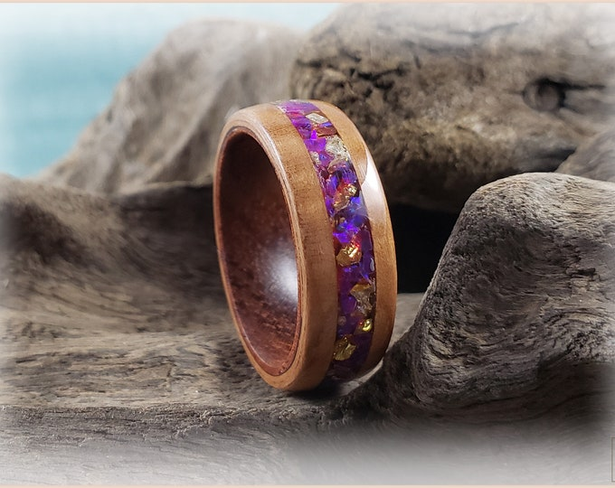 Bentwood Ring - Black Cherry w/Gold Enamel Flake and Waterlily opal inlay, on Rosewood ring core