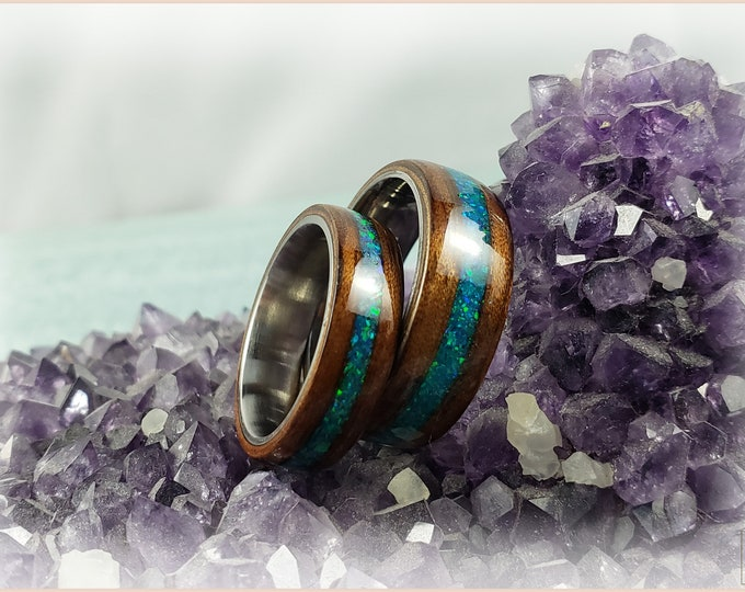 Bentwood Ring Set - 'MANGO LAGOON' - Mango w/Opal inlays, on titanium ring cores