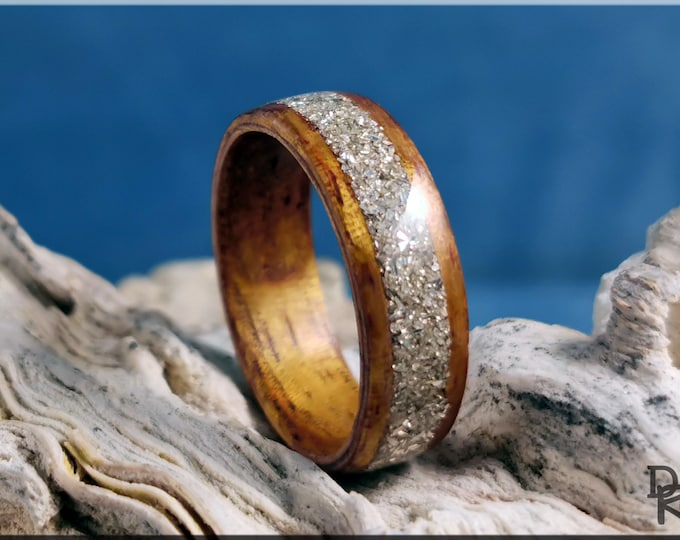Bentwood Ring - Golden Hawaiian Koa w/Silver Glass inlay - Wood Ring
