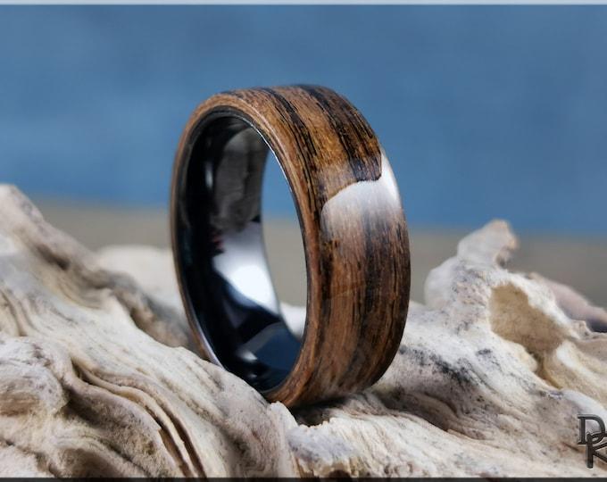 Bentwood Ring - Louro Preto on Polished Black Ceramic ring core - wood ring