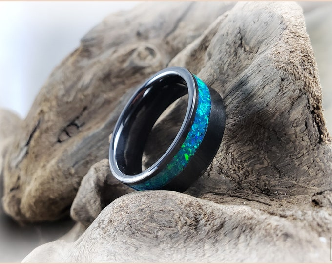8mm Black Ceramic Offset Channel Ring w/Opal inlay