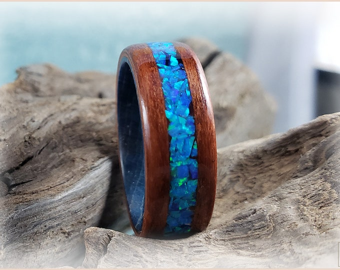 Bentwood Ring - Tineo w/Sky Blue opal inlay on a Cobalt Blue Box Elder core