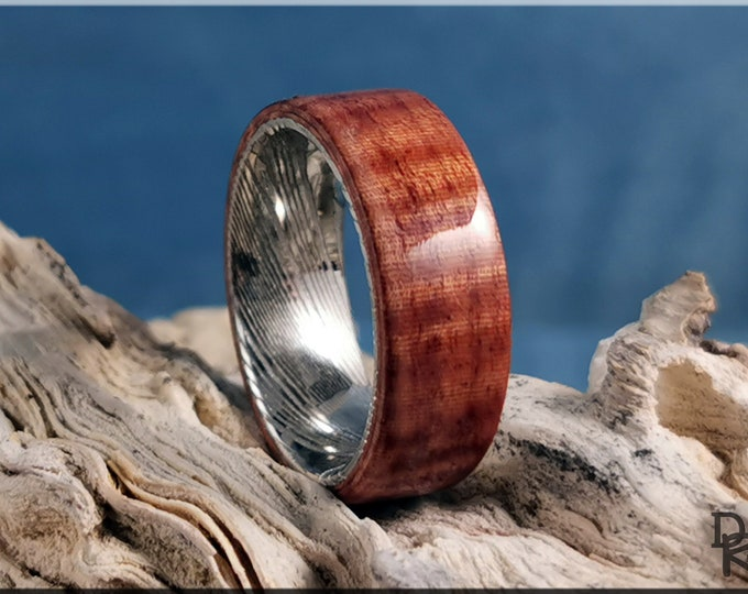 Bentwood Ring - Fiddleback Kotibe on Genuine Damascus Steel ring core - Wood Ring