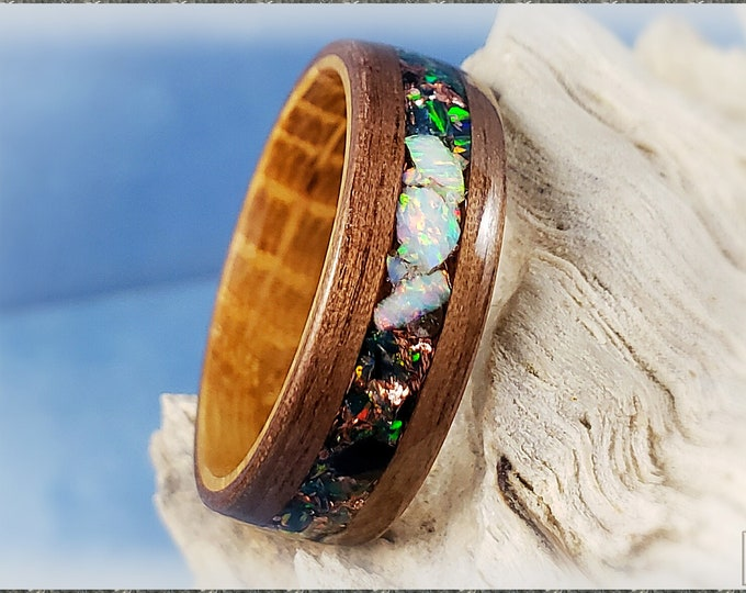 Bentwood Ring - Black Walnut w/Black Emerald, Fire and Snow chunk opal, and Copper Flake  inlay, on Whisky Barrel ring core