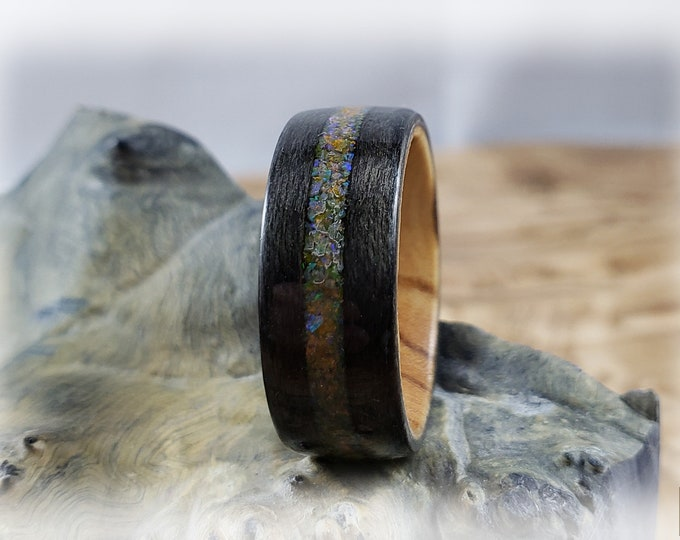 Bentwood Ring - Graphite Grey Maple w/Amber opal inlay, on Olivewood ring core
