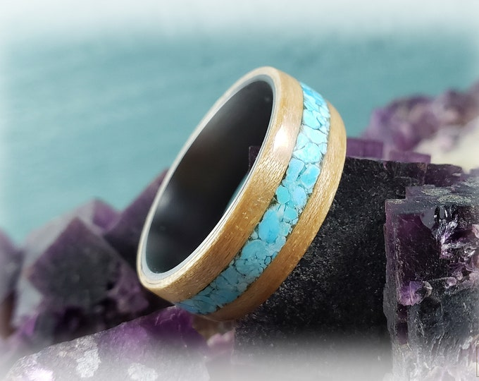 Bentwood Ring - Maple w/Sleeping Beauty turquoise inlay, on titanium core
