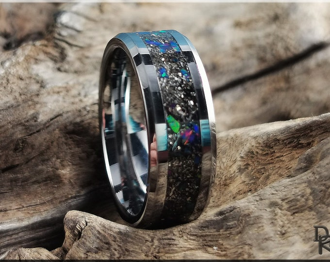Tungsten Carbide Channel Ring w/Meteorite and Opal inlay