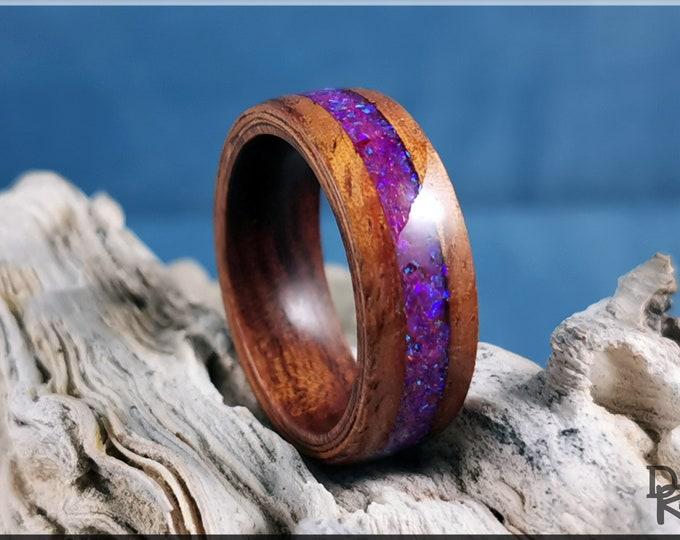 Bentwood Ring - Golden Hawaiian Koa w/Galaxy Purple Opal inlay, on Ironwood core
