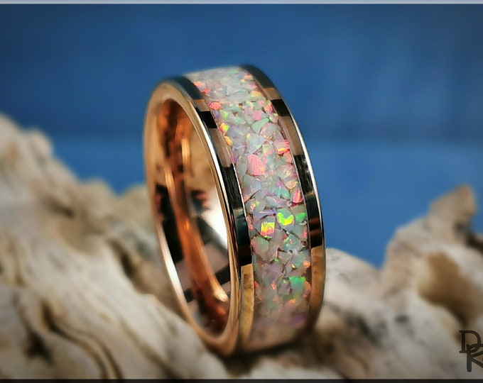 Rose Gold Plated Tungsten Carbide 8mm Channel Ring w/Sun and Ice opal inlay