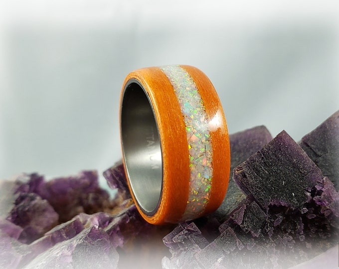 Bentwood Ring - Orange Tulipwood w/White Fire opal inlay, on titanium ring core