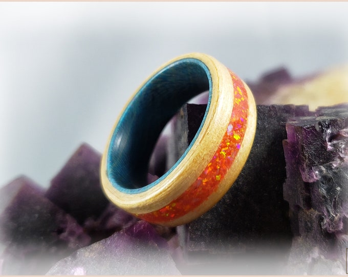 Bentwood Ring - Swiss Aspen w\Mexico Fire Opal inlay, on Teal Box Elder ring core