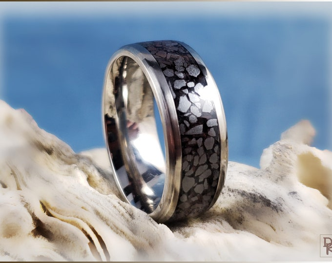 Titanium 8mm Channel Ring w/Hematite stone inlay