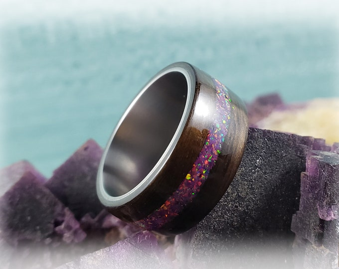 Bentwood Ring - Smoked Eucalyptus w/Royal Purple Opal inlay, on titanium ring core